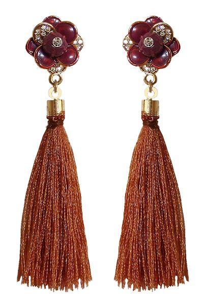 Brown Silk Thread Earrings