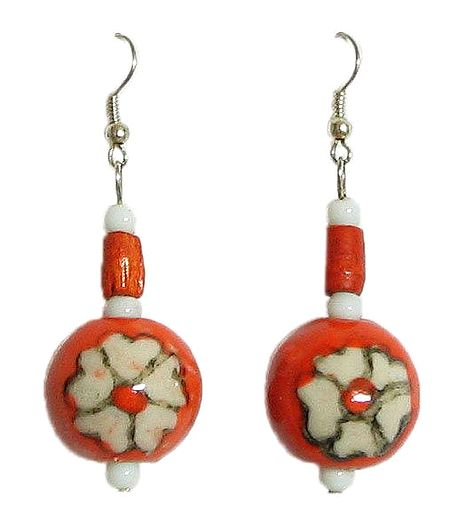 Saffron Bead Earrings with Painted Flower
