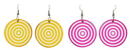 Set of 2 Pairs Yellow and Pink Circular Earrings
