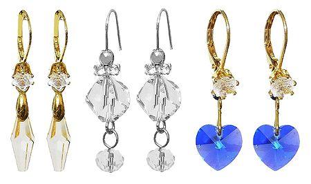 Set of 3 Pairs Crystal Bead Dangle Earrings