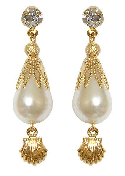 White Stone Studded Metal Drop Earrings
