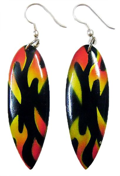 Saffron and Yellow Print on Black Acrylic Earrings