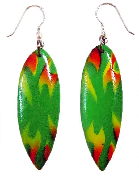 Saffron and Yellow Print on Green Acrylic Earrings