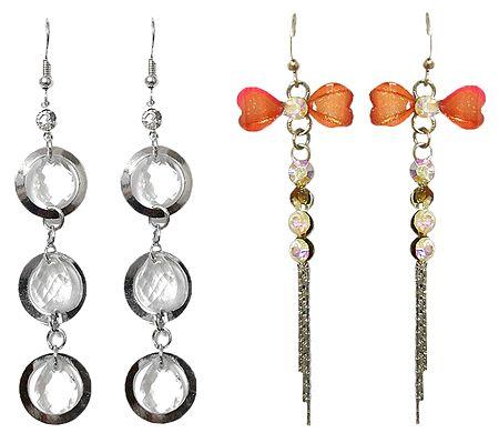 Set of 2 Pairs Dangle Metal Earrings