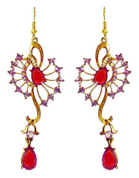 Magenta andd Red Stone Studded Designer Metal Earrings