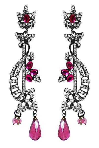 White and Magenta Stone Studded Earrings