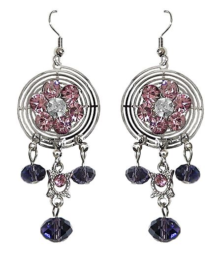 Pink and Purple Stone Studded Metal Earrings