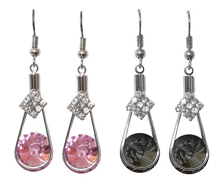 Set of 2 Pairs Grey and Pink Stone Studded Dangle Earrings