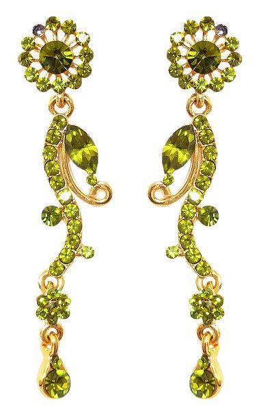 Olive Green Stone Studded Dangle Metal Earrings