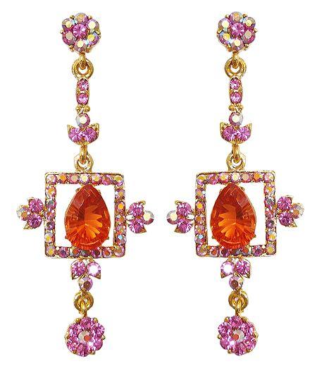 Orange and Magenta Stone Studded Dangle Earrings