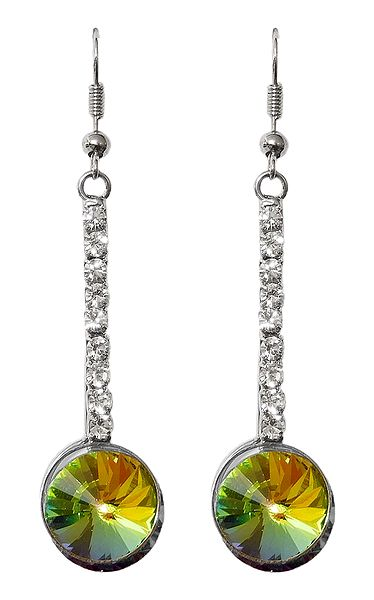 Green with White Stone Studded Dangle Earrings