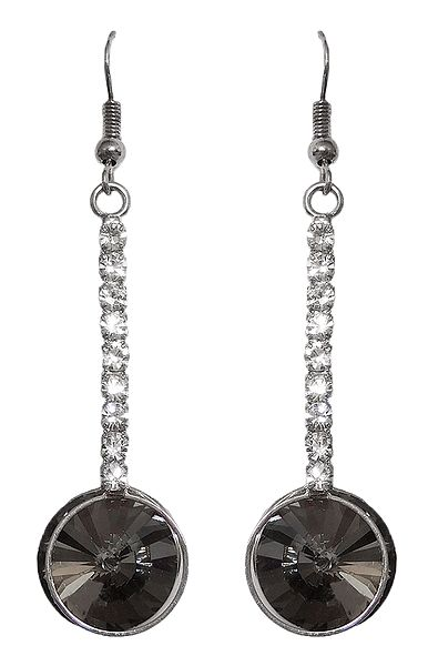 Grey with White Stone Studded Dangle Earrings