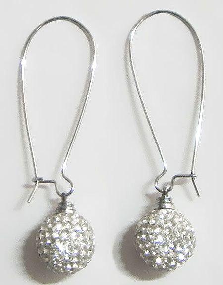 White Stone Studded Dangle Earrings