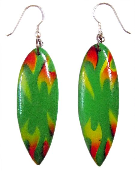 Saffron and Yellow Print on Green Droplet Dangle Earrings