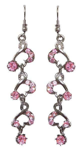 Pink Stone Studded Metal Dangle Earrings