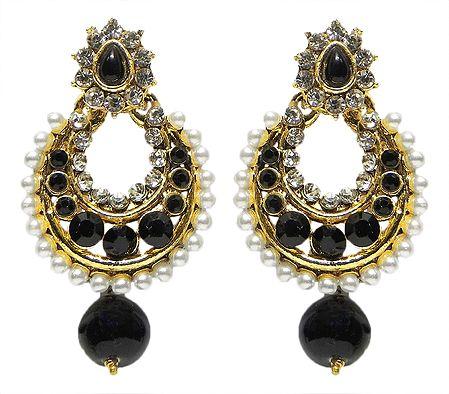 Black and White Stone Studded Hoop Earrings