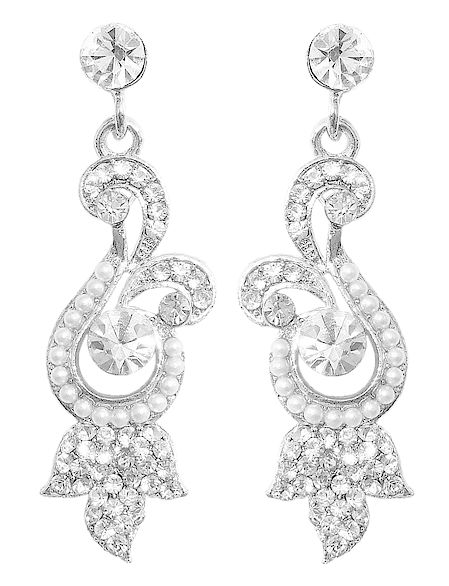 White Stone Studded Metal Dangle Earrings