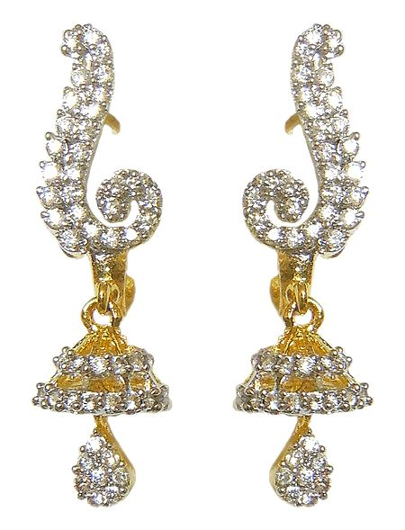 White Stone Studded Earrings with Small Jhumka
