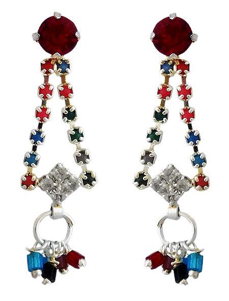 Stone Studded Dangle Earrings