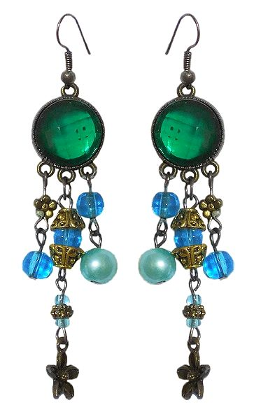 Green Stone with Bead Dangle Earrings