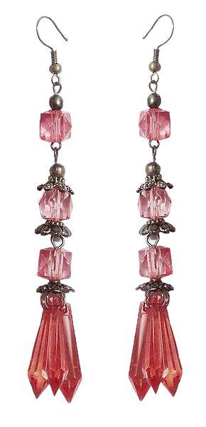 Oxidised Metal Dangle Earrings with Acrylic Beads