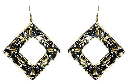 Black with Golden Metal Earrings