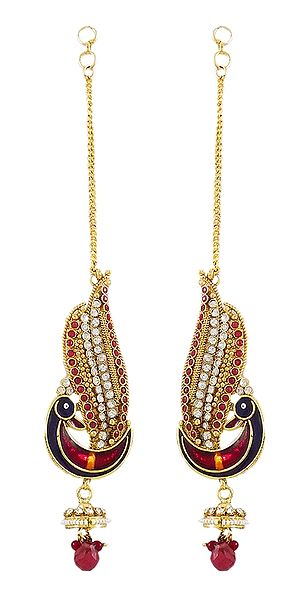 Stone Studded Peacock Earrings with Chain to Hold Earrings