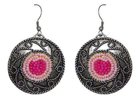 Pink Beaded Oxidised Metal Disc Earrings