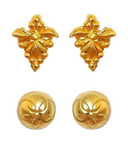 Set of 2 Pair Gold Plated Stud Earrings