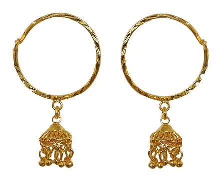 Gold Plated Ring Jhumka Earrings