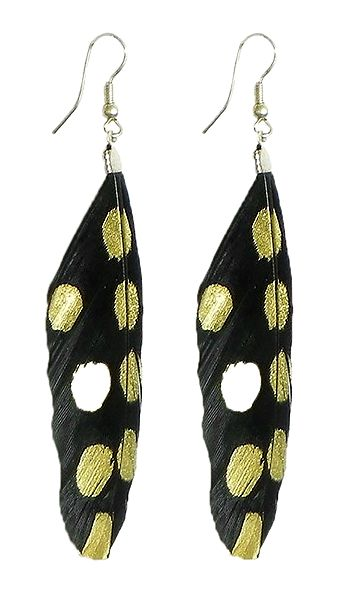 Black with Golden Painted Feather Earrings