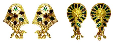 Set of 2 Pairs Red and Green Laquered Gold Plated Earrings