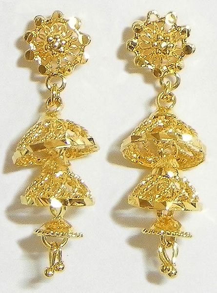 Gold Plated Umbrella Earrings