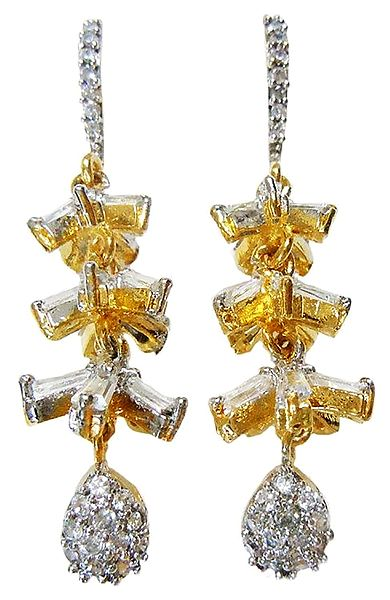White Stone Studded and Gold Plated Earrings
