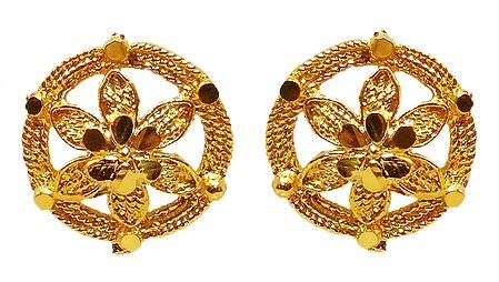 Gold Plated Metal Stud Earrings