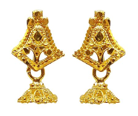 Gold Plated Metal Jhumka Earrings