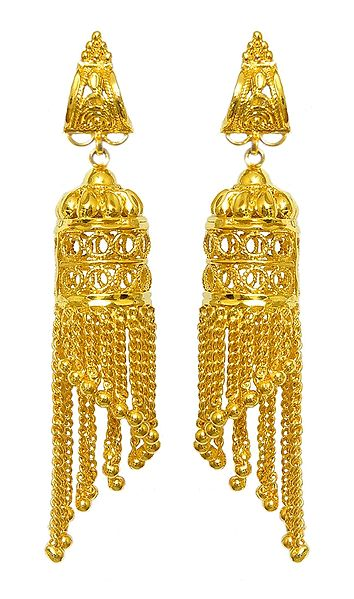 Pair of Gold plated Jhalar Earrings