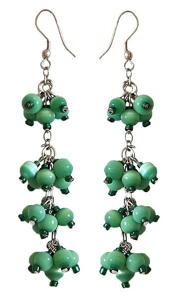 Green Bead Cluster Earrings