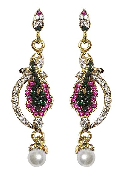 White, Magenta and Green Stone Studded Dangle Earrings