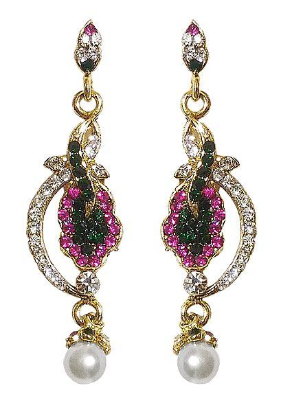 Multicolor Stone Studded Dangle Earrings