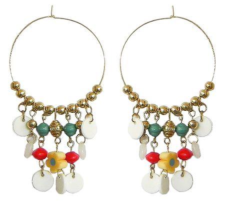 Hoop Earrings with Multicolor Beads
