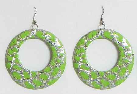 Green with Silver Cloth Wrapped Metal Hoop Earrings