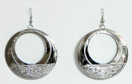 White Metal Hoop Earrings