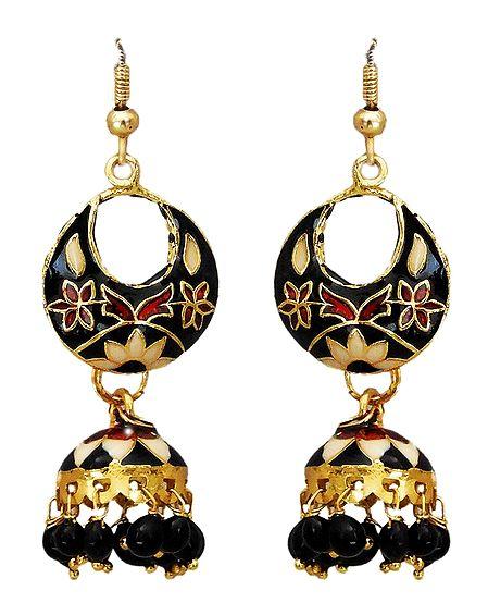 Meenakari Metal Hoop with Jhumka Earrings