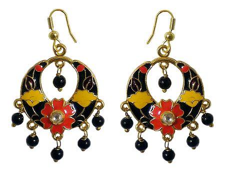 Black with Multicolor Meenakari Metal Hoop Earrings