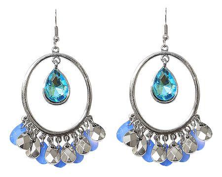 Hoop Earrings with Blue Stone Jhalar