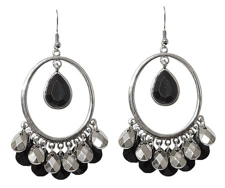 Metal Hoop Earrings with Black Stone Jhalar