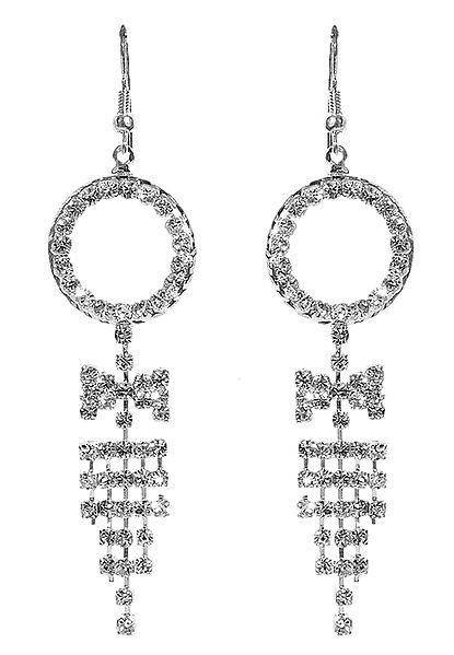 White Stone Studded Metal Jhalar Earring