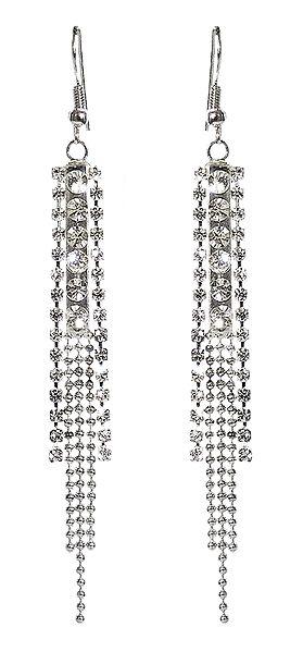 White Stone Studded Jhalar Earring