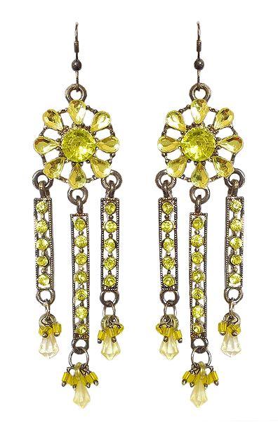 Stone Studded Oxidised Metal Jhalar Earrings